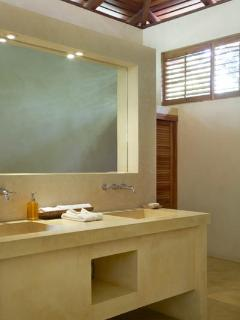 Vanity and closets in the master bedroom
