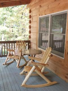 Front porch with log rocking chairs