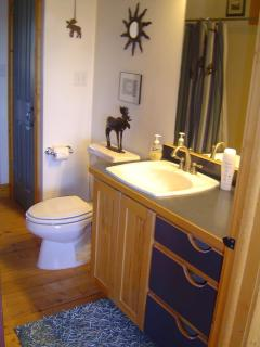 The upstairs bathroom has a shower/tub combo, a sink, toilet, linen closet and walk-in closet.