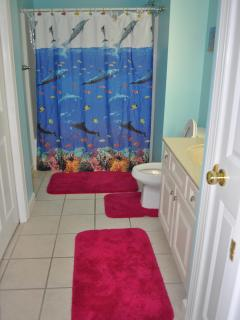 Upper Level second bath with Tub, Washer and Dryer are in this bathroom closet