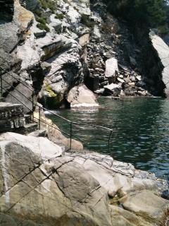 The crystal clear sea in Villa Fosca where you can swim