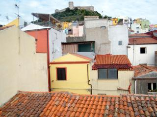 House with a view to medieval castle, Bosa