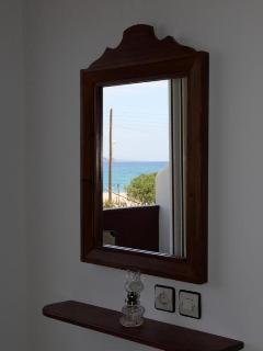 view of Plakias beach in mirros