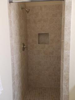 Walk-in tile shower in master bath