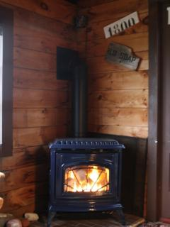 Gas woodstove, immediately right of the picture window
