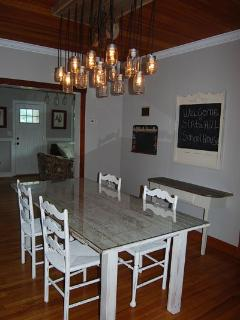 Custom light fixture and dining room table