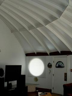 Vaulted ceilings show home's unique construction
