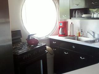 Kitchen has vintage metal cabinetry