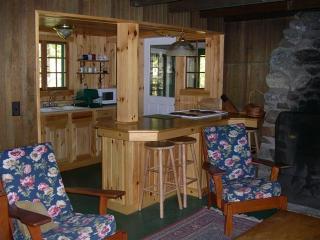 Cherrybank kitchen, breakfast bar and stone fireplace