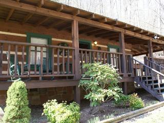 """Honeymoon Hideaway"" Log Cabin, King Sz Custom Log Bed, Private Hot Tub, Rockers"