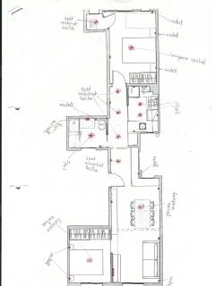 The layout of the apartment, with 2 separate rooms, kitchen, bathroom, living room and balcony