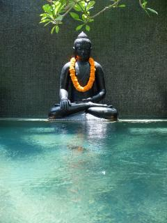 Mosaic water feature is highlighted by the resting Budha