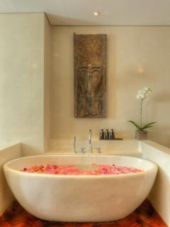 Free standing terrazzo Bathtubs in both bathrooms