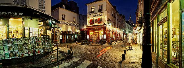 Montmartre by night around the corner of the street