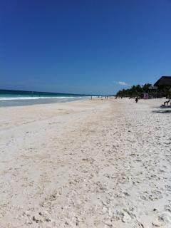 Easter 2013! Beautiful sandy beach for miles!  Lots of small eco resorts for lunch or a cool drink.