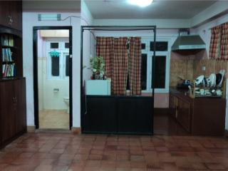 Studio apartment kitchen and bathroom