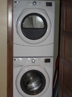 Full size front loading washer and dryer.