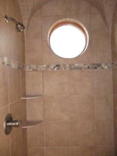 Upstairs bathroom, walk-in double shower