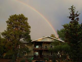 Rainbow after monsoon storms (they come in July and Aug.)