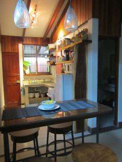 Indoors kitchen with breakfast nook
