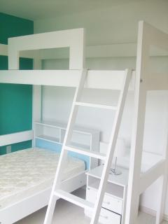 Secon bedroom (bunk, two beds)