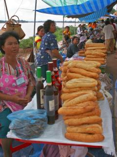 Fresh French Sticks at the Lao market near Mekong House