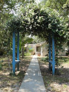 Blue Arbor leading to the cottage