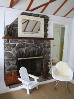 Den: working fireplace