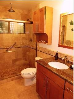 Newly renovated spa like bathroom with rain shower