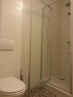 Clean white bathroom, complementary shower gel and soap.