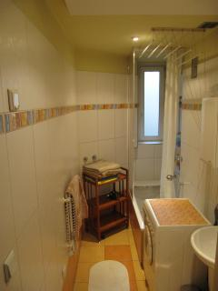 Bathroom with bathtub and shower, sink, toilet bowl, laundry machine with dryer.