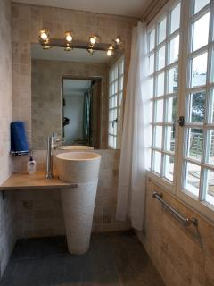 En-suite bathroom with sea view and big shower