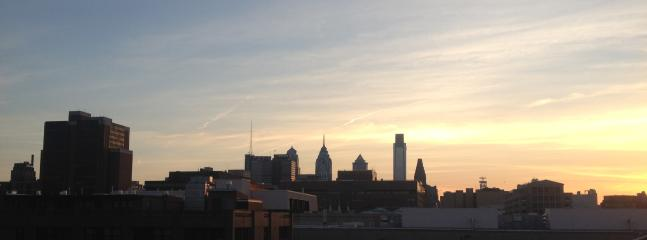 City Skyline at dusk from roof deck