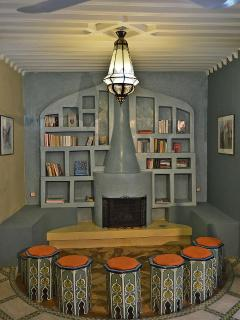 Fire place and library