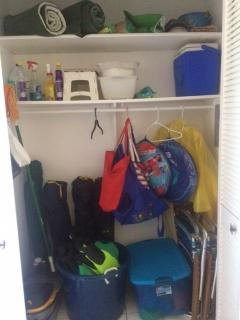 Our main closet is stocked with everything you need -- chairs, mats, coolers, beach toys and gear