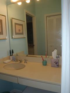 The en-suite master bath has split vanities to allow two to get ready easily...