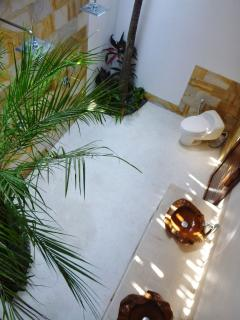 View from above into bathroom...marble touches add a touch of elegance