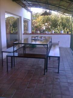 terrace with large table seating 12