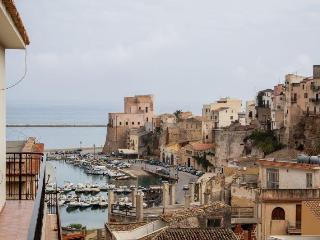 Terrace and view on the castle, Castellammare del Golfo