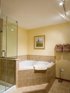 soaking tub and separate shower with rain shower head