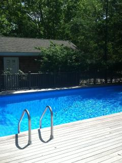 Large, Secluded Pool Surrounded by Mahaganey Deck