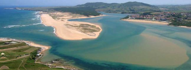 View of Mogro Playa and Valdearenas Liencres beach Mogro Cantabria