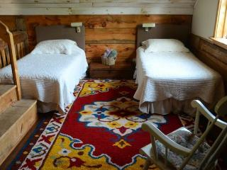twin beds in lower loft
