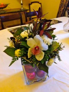 one of our festive floral arrangements