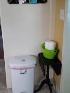 Trash can area.