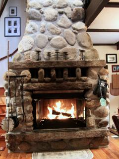 Our grand fireplace, sit and relax, we supply the firewood