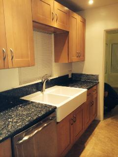 1st Half of brand new kitchen in blueblack granite, high-end stainless steel appliances, etc