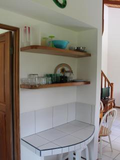 Kitchen workspace and shelving