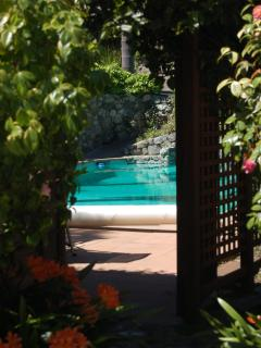 Walk through our garden into the pool area, heated between May 1st and Oct 31st