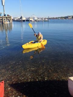 kayaking in Sakonnet Harbor  across the street from house